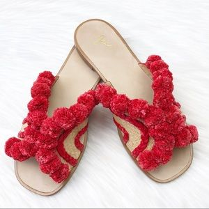 New Joie Paden Pompom Slide Sandals in Red